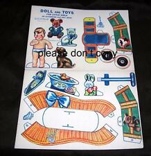 VTG 1930'S ORIGINAL ACCORDION CUT OUT BOOK, PAPER BABY DOLL W TOYS, BASSINET