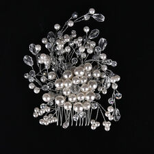 Charming Bride Crystal Pearl Rhinestone Headpiece Bridal Wedding Hair Comb MW