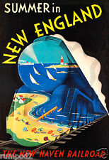 Vintage Travel Poster/Print/ Summer in New England/ Railroad/Train/13x19 inch