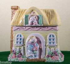 SPRING PASTEL COLOR CAT & THATCH ROOF HOUSE CERAMIC COOKIE JAR APPLAUSE