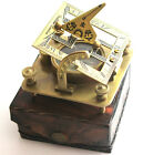 Brass Sundial Compass - Pocket Sundial with leather box