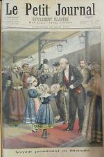 BRETAGNE ACCEUIL PRESIDENT DE LA REPUBLIQUE COSTUMES GRAVURE PETIT JOURNAL 1896