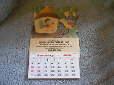 CALENDAR - BIRDS - 1988 GUGGISBERG CHEESE INC, DOUGHTY VALLEY, MILLERSBURG, OH