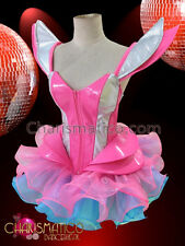 CHARISMATICO Pink  silver Gaga corset with matching pink and blue organza tutu