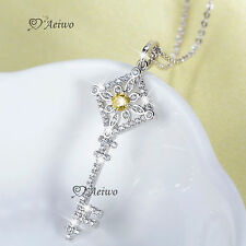18K WHITE GOLD GF MADE WITH SWAROVSKI CRYSTAL KEY PENDANT CHAIN NECKLACE