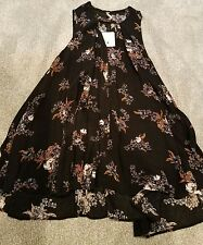 Nwt Free People Black Floral Tree Swing Tunic Top Dress Small S