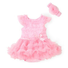 2pcs Newborn Baby Kids Girl Headband+Romper Bodysuit Tutu Clothes Set 0-3M Pink