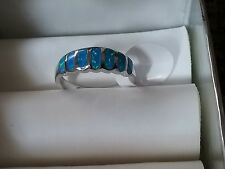 High Quality Blue Fire Opal Inlay Genuine 925 Sterling Silver Band Ring size 7