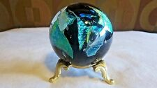 Gorgeous Hand Blown Dichroic Glass Paperweight with Stand