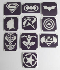 GLITTERTATTOO 10 x diff stencil captain america batman and others glitter tattoo