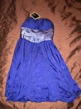 RIVER ISLAND BRAND NEW DRESS SIZE 10 BLUE STRAPLESS SUMMER WEDDING PARTY