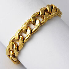 Vintage Mens 9K Yellow Gold Plated Cuban Link Chain Bracelet 8 Inch Jewelry