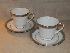 NORITAKE CHINA CRESTWOOD PLATINUM PAIR OF CUPS AND SAUCERS NEW UNUSED