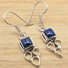Fancy LAPIS LAZULI Earrings ! 925 Sterling Silver Plated ONLINE SHOPPING Jewelry