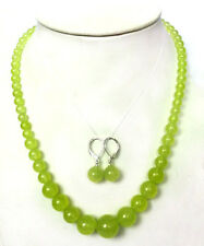 """Natural 6-14mm Peridot Round Gemstone Beads Necklace 18 """" + Earrings Set"""