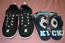 BOYS SZ YOUTH 13 M LANDS END MESH WATER SHOES+SOCCER FLIPFLOPS NWT POOL BEA