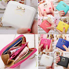 Women's lady Soft Leather Bowknot Clutch Wallet Small Card Purse Handbag Colors