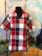 FASHION BUG PLUS 18/20 RED/BLUE PLAID ZIP FRONT COLLAR SHORT SLEEVE TUNIC TOP