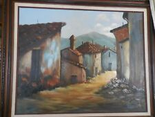 """Oil Painting on Canvas of Spanish Adobe Houses Signed B. Weir 30"""" X 24"""""""