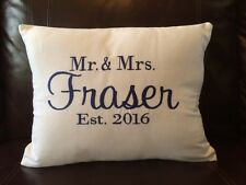 Personalized Monogrammed White Cotton Twill Decorator Pillow - Wedding, Engage
