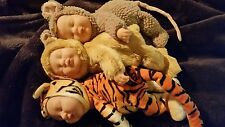 Lot  3 Anne Geddes Sleeping Baby Doll Animal Suit Outfit Tiger Mouse Bear Plush