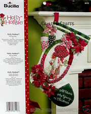 "Bucilla Holly Hobbie ~ 18"" Felt Christmas Stocking Kit #86116 Poinsettias"
