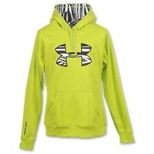UNDER Armour SMALL Hoodie NEON Womens SIZE Pullover HOOD 1221640 Big LOGO Fleece