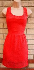 PEACHY PINK FLORAL LACE SKATER A LINE FLIPPY MINI TEA RARE DRESS 14 16 L XL