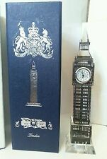 London Big Ben Clock Silver Metallic Crystal With changing  lights Souvenir Gift