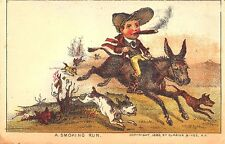 """1880 Currier & Ives """"A Smoking Run"""" Mule Dogs Cigars Original Trade Card"""