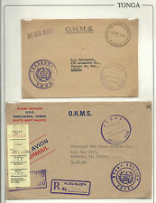 """Tonga: 2 Covers Official """"O.H.M.S."""" Circulated to Canada and other to Usa. TG129"""
