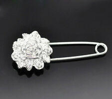 Original  Silver Colour Flower  Pin Brooch ideal for Cardigan, Scarf, Wrap etc