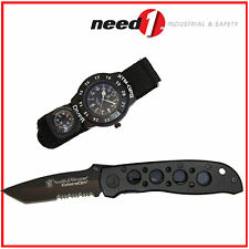 SMITH & WESSON Combo Tactical Folding Knife & Diver Field Watch with Compass