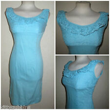 "~ FAB VINTAGE 1960S 60S AQUA BLUE LACE TOP PIN UP WIGGLE SHEATH DRESS 34"" BUST ~"