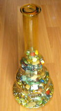 OLD VTG YELLOW GLASS VASE STONE COLORED MARBLE BEAD BLOB DECORATIVE DISPLAY