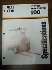 Hyster Lift Truck Brochure~S100E Spacesaver~Specifications~Catalog Insert 1976