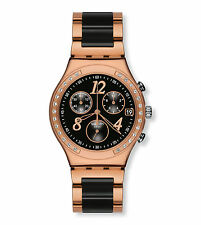 SWATCH DREAMNIGHT CHRONOGRAPH DATE BLACK DIAL TWO-TONE WOMEN'S WATCH YCG404G NEW