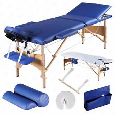"3 Fold 84""L Massage Table Portable Facial SPA Bed Sheet+2 Bolsters+Cradle+Hanger"