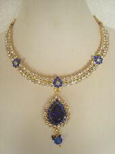 South Indian Traditional Jewellery gold tone D.BLUE design necklace set earring