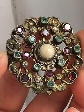 Antique LARGE Austro Hungarian Silver Gilt Emerald  Garnet Pearl Brooch