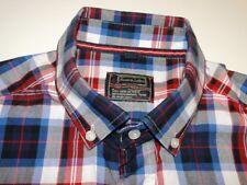ROVER & Lakes Design Camicia manica lunga GRIGIO ROSSO A QUADRI COTONE KW 41
