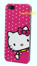 for iphone 5 5s hello kitty hard case polka dot white hot pink bow + screen film
