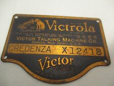 Credenza X - Victor Victrola ID Tag - Orthophonic Badge Plate X12418