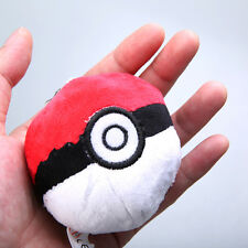 Anime Red Pokemon Poke Ball Plush Doll Soft Stuffed Figure Toy 2.5in Key Chain