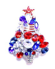 Patriotic Red White & Blue Tree Holiday Christmas Pin Broach Brooch