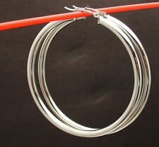 "2"" 3mm Large Plain Round Hoop Earrings Real 14K White Gold FREE SHIPPING"