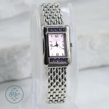 Sterling Silver - ECCLISSI Amethyst Bezel Lilac Dial Panther Link Band - Watch