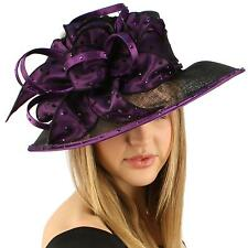 "Kentucky Derby Polka Dot Crystal 4"" Brim Floppy Feather Ribbon Church Hat Purple"