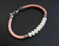 Vintage Signed IWI Faux Pearl Pink Braided Leather Bracelet 925 Sterling Silver