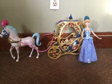 Rare Disney Princess Cinderella Carriage and Horse figure Play Set doll